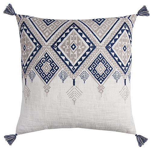 Rizzy Home PILT11500IVBL2020 Tribal Aztec with Tassels Decorative Pillow, Ivory/Blue (Pillows Tassel Decorative)