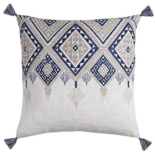 Rizzy Home PILT11500IVBL2020 Tribal Aztec with Tassels Decorative Pillow, Ivory/Blue (Tassel Pillows Decorative)