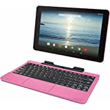 """RCA Viking Pro 10.1"""" 2-in-1 Tablet 32GB Quad Core Pink Laptop Computer with Touchscreen and Detachable Keyboard Google Android 5.0 Lollipop"""