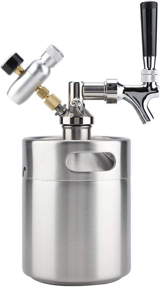 2L Barrilete Elaboración de Cerveza de Acero Inoxidable con Grifo, Sistema de Preparación de Cerveza Artesanal Presurizado Barril de Cerveza Casera Bar para Fermentar Almacenar y Dispensar Cerveza