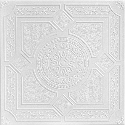 A la Maison Ceilings 1528 Kensington Gardens - Styrofoam Ceiling Tile (Package of 8 Tiles), Plain White