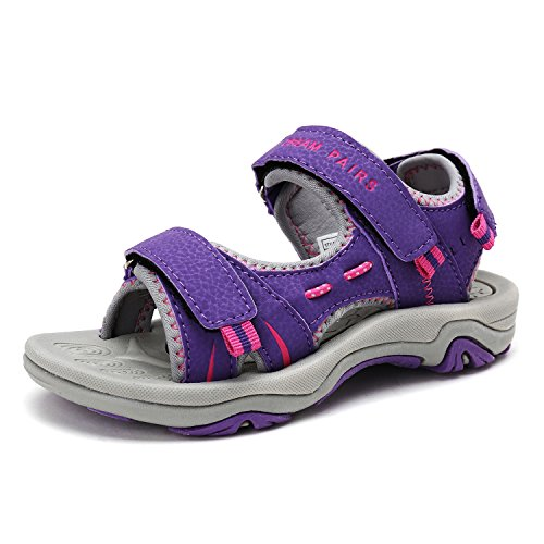 DREAM PAIRS Big Kid 170891_K Purple Fuchsia Lt.Grey Fashion Athletic Sandals Size 6 M US Big Kid