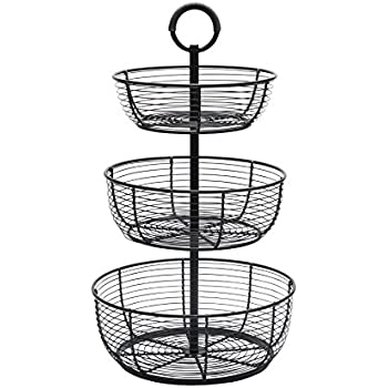 Metal Market Basket 3 Tier Bins Containers Shelf Baskets Antique Black Brushed