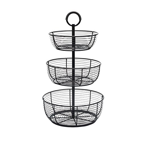 (Gourmet Basics by Mikasa 5216454 Round Wrap 3-Tier Metal Floor Standing Fruit/Home Storage Basket, Antique Black)
