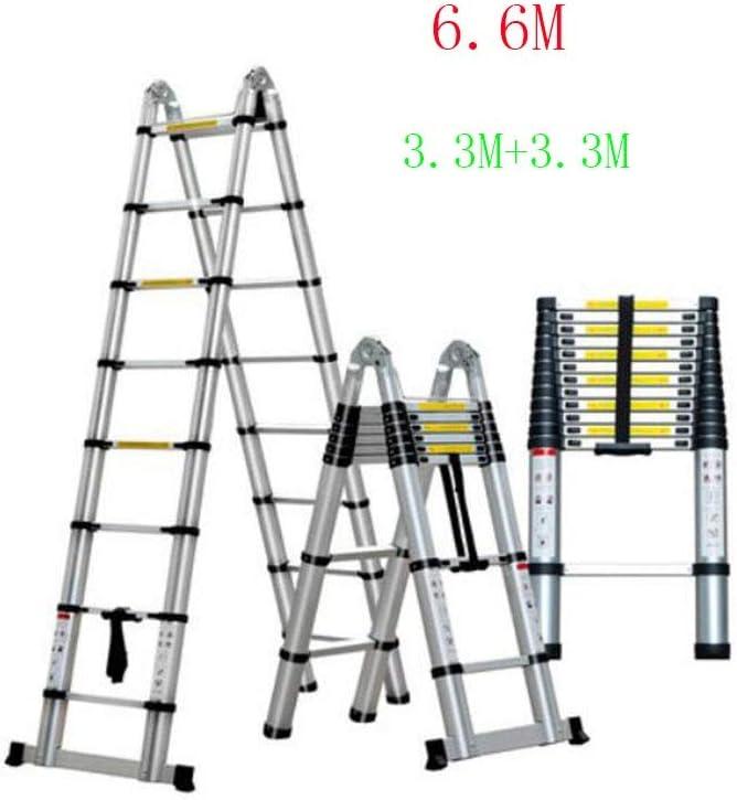 GTRR Elevador multifunción Escalera telescópica Escaleras Aleación de Aluminio Espesar Escalera Plegable Ingeniería doméstica Fortalecimiento de escaleras (Size : 6.6M): Amazon.es: Hogar