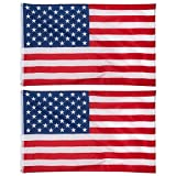 American Flag 2 Pack – Outdoor 3×5 Feet American Flags, US National Flag Banners, Double Stitched Polyester Flags with Brass Grommets, Decorations for America-Themed and Patriotic Parties, 3 x 5 Feet For Sale