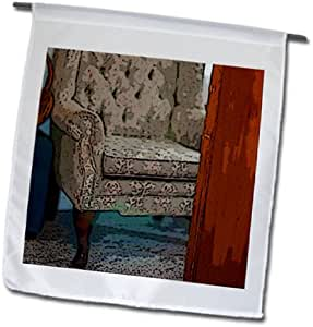 Jos Fauxtographee Indoor - A blue wing back chair across from a chest of drawers in a room - 18 x 27 inch Garden Flag (fl_64954_2)