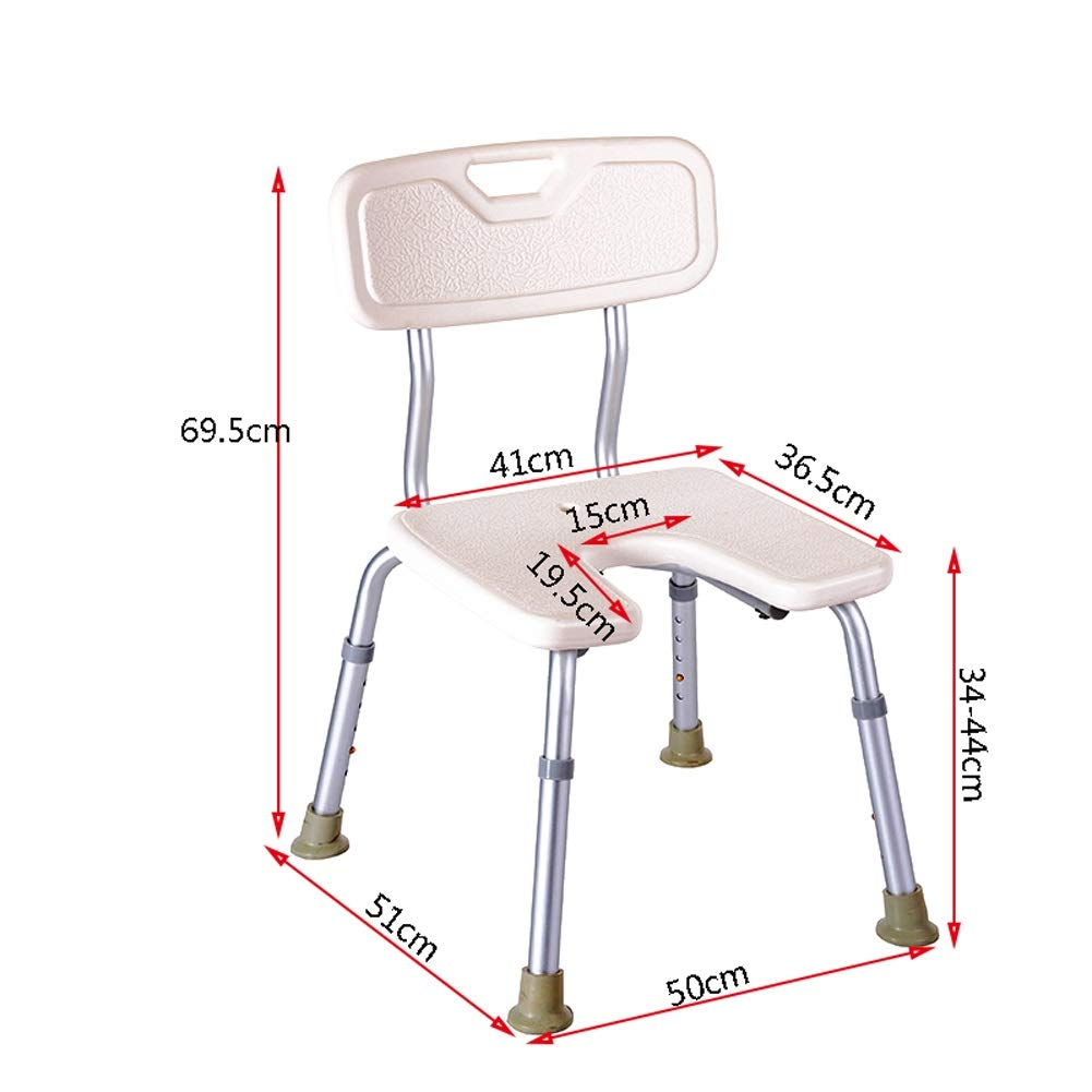 BEAUTY--shower stool Anti-Slip Shower Chair for The Elderly/Pregnant Women/Disabled,Bath Assist Seat with Backrest,Adjustable Height by BEAUTY--shower stool (Image #3)