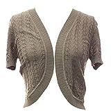 Plum Feathers Leaf Knit Short Sleeve Bolero Shrug Sweater Cover up Cardigan (Taupe, Large/X-Large)