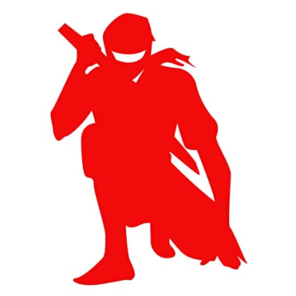 Auto Vynamics - NINJA-CHAR02-5-GRED - Gloss Red Vinyl Ninja Warrior Silhouette Decal - Crouched / Crouching 01 Design - 3.625-by-5-inches - (1) Piece ...