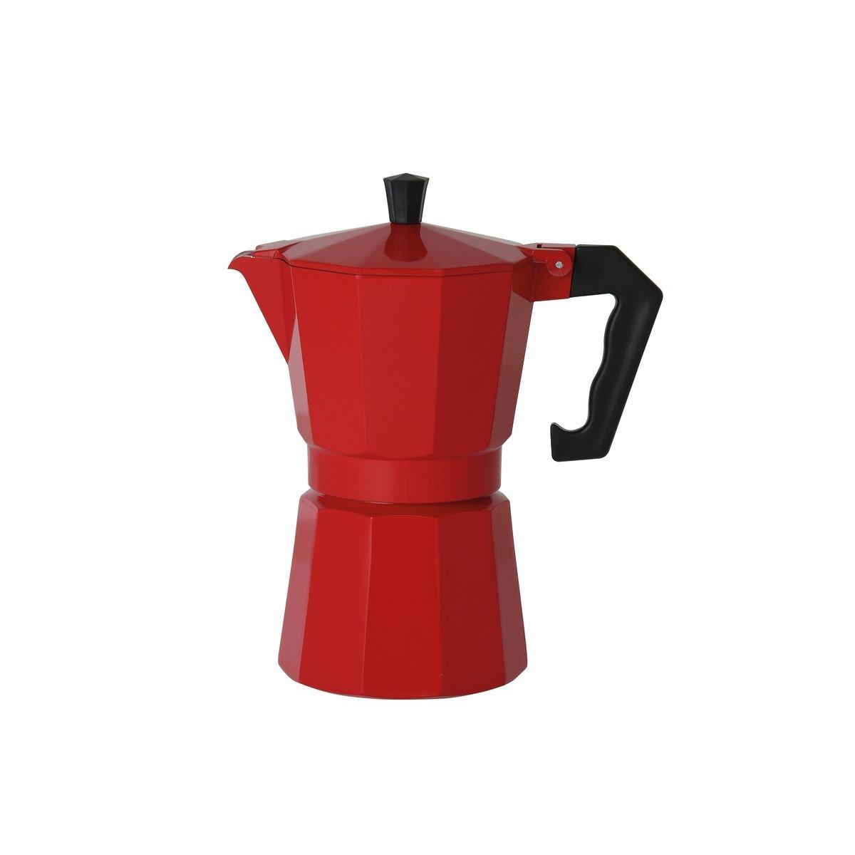 axentia 122247 Espressokocher italienisch Rot - Espressokanne aus Alumium 6 Tassen, Aluminium, mehrfarbig, 10.5 x 14 x 20.5 cm Testrut DE GmbH