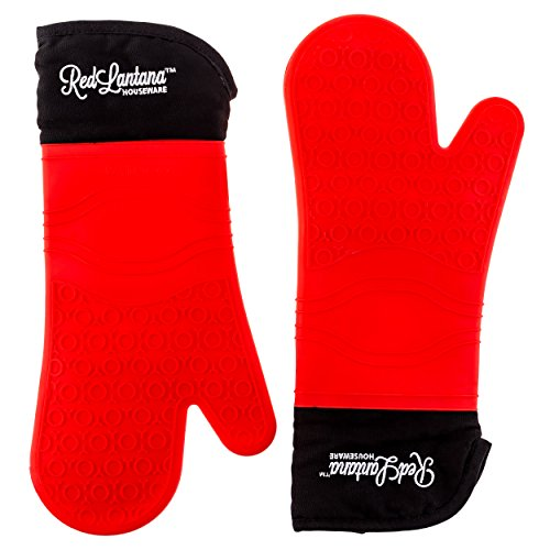 Silicone Oven Mitt - Set of 2 - Strong Non-slip Grip with Extra Long Built-in Cotton Interior Lining for Extra Protection of Lower Arm - Double Left- Or Right-handed Use - Professional Elbow-length Mittens Best Used As Baking, Grilling, BBQ, Kitchen or Ov by RedLantana