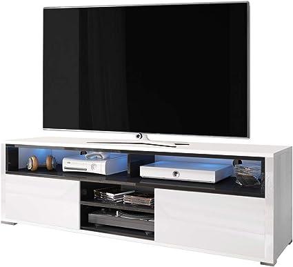 selsey meuble tv bas blanc noir 137 x 33 x 42 5 cm