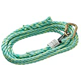 Peakworks Fall Protection V84013025 Vertical Lifeline Rope with Back Splice and Carabiner, 25 ft. Length, Green