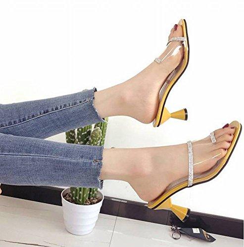 Tipo Flops Zapatillas de en Flip Sandalias 5Cm Plástico Zapatilla Romanos Desgaste Femenina de Playa Imitación Vacaciones 3 Forma Zapatos un Talón Caucho Dia Adulto Y Exterior Transparente Diamantes RwPUwxq