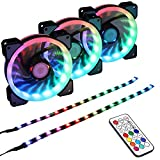 led 120mm fan - LEDdess RGB LED 120mm Case Fan with Controller for PC Cases, CPU Coolers, Radiators System (3pcs RGB Fans, 2pcs led Strips, 2nd Gen RF Remote Control, A Series)