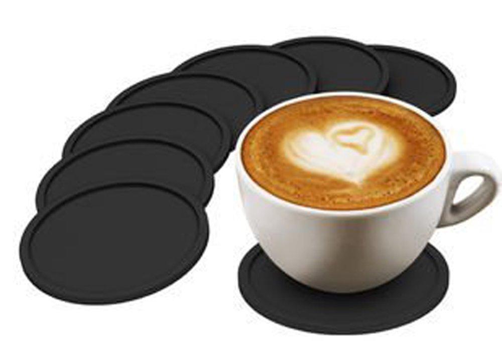 Conjunto de 8 Copas de silicona negro Copa Coasters Mat