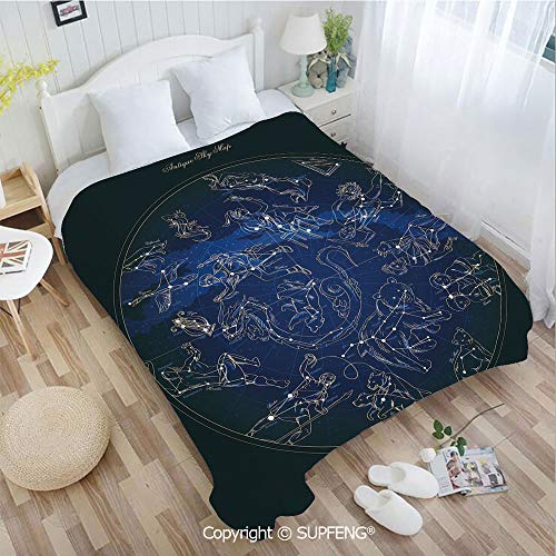 Camping Blanket Antique Sky Map with Hand Drawn Mythological Figures History Galaxy(W59xL78.7 inch) Easy Care Machine Wash for Bedroom/Living Room/Camping etc