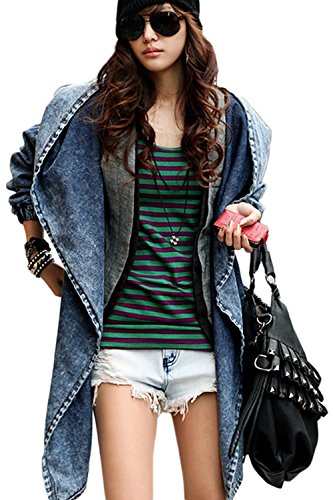 Women Casual Solid Hooded Denim Belted Trenchcoats Loose Poncho Cape Blue One ()