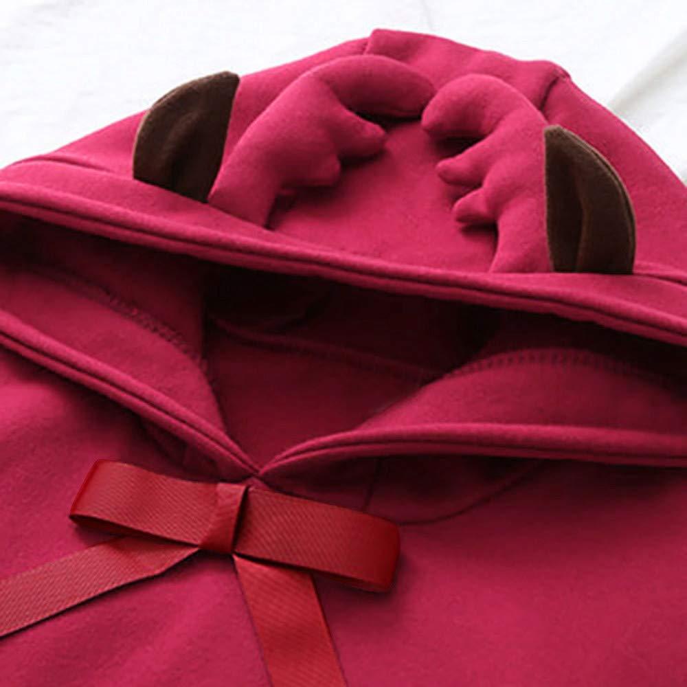 Ankola Sweatshirts Women Long Sleeve Cute Antlers Bow-Knot Hooded Christmas Sweatshirt Casual Pullover Hoodie