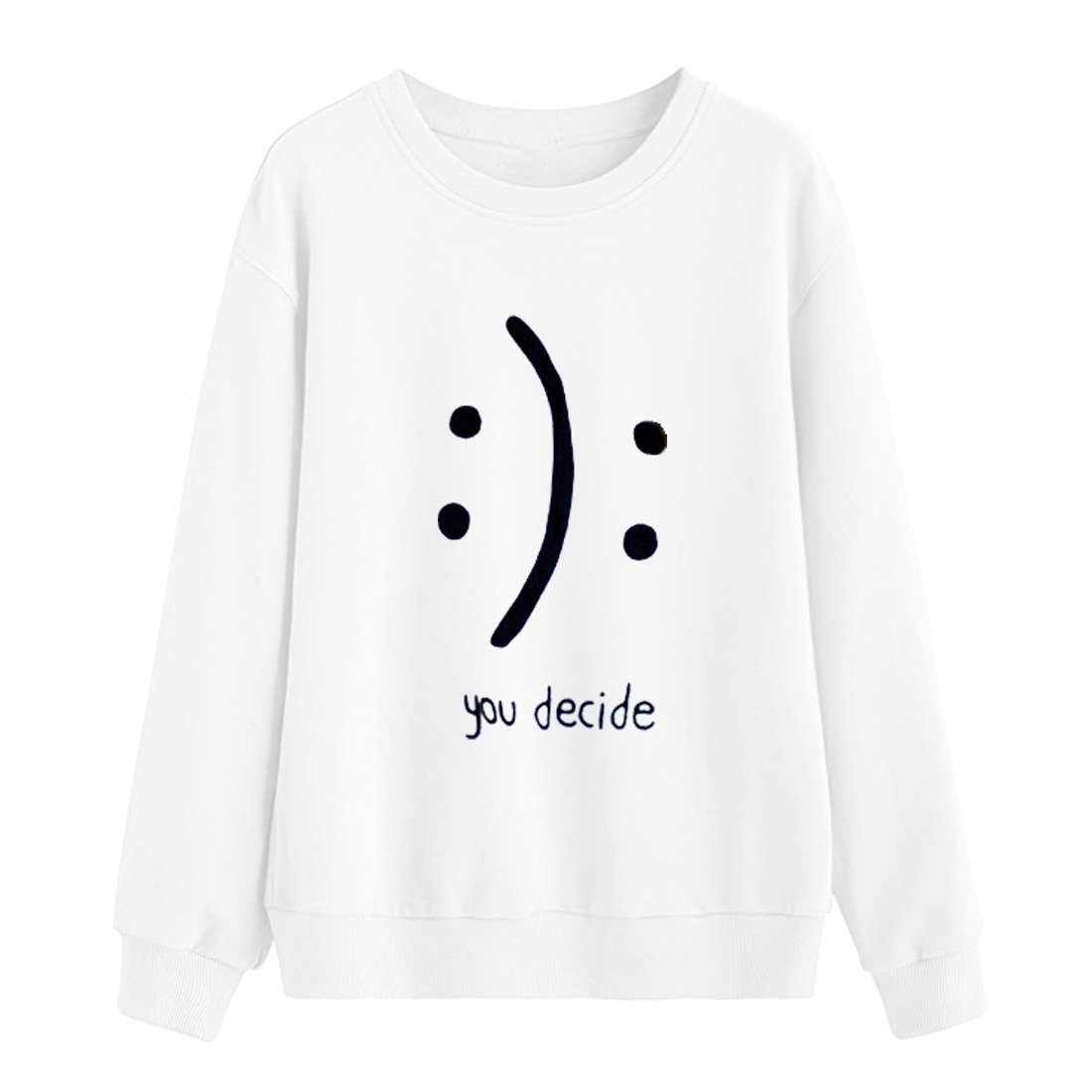 BLACKMYTH Women Round Neck Sweaters Graphic Cute Pullover Long Sleeve Funny Sweatshirts White Small