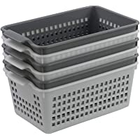 Vcansay Small High Plastic Storage Basket, White and Grey, 6 Packs