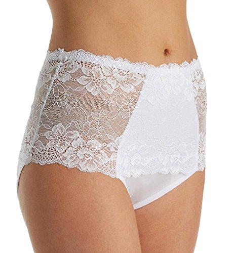 Rhonda Shear Full Coverage Lace Brief Panty (3901) 2X/White