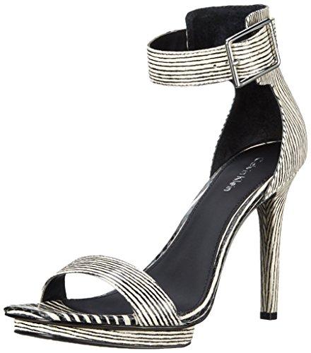 Calvin Klein Women's Vable Dress Sandal, Black/White, 9.5 M US by Calvin Klein