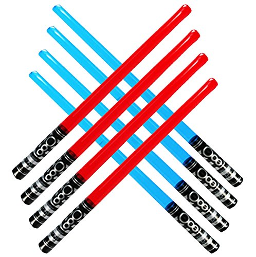 megasumer Pack of 8 Inflatable Light Saber Sword Toys - 4 Red and 4 Blue lightsabers - pool, beach, party favors, larp, Halloween costume, give away, Christmas stocking stuffer