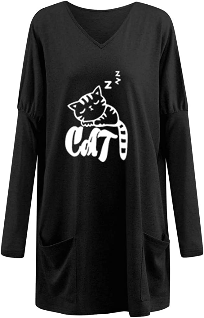 Womens Hoodies Printed V-Neck Casual Loose Long Sleeve Sweatshirt T-Shirts Tops with Pocket Plus Size Fall Graphic Tee