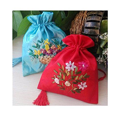 Lilith li 100% Handmade Fabric Drawstring Pouch Beam Port Drawstring Silk Bag Jewelry Bag Packing: 2 piece/ ()