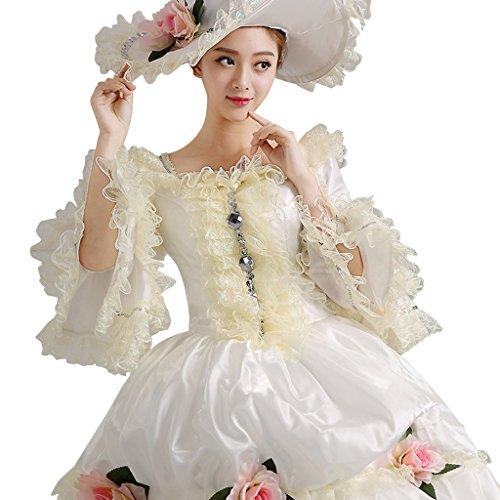 Cosplayitem Damen Abendkleid Prinzessin Kleid Maskerade Kostüm Kleid Königin Weiß Gothic viktorianischen Mädchen Palace Lagerter RRdr0w