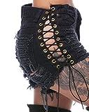 Nicetage Women's Sexy Casual Mini Hot Pants Cut Off Denim Jeans Shorts Pants (Duan Black, S)