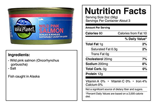 Wild Planet, Wild Pink Salmon, 6 Ounce, Pack of 12 4