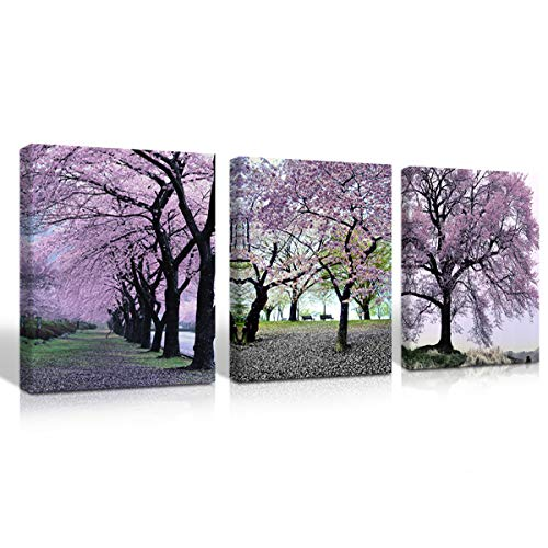 Mon Art Cherry Blossom Canvas Print Wall Art Purple Spring Flower Picture Romantic Tree Forest Pink Trees Painting for Bedroom Living Room Decoration Modern Home Decor Framed Artwork Daughter's Gift ()