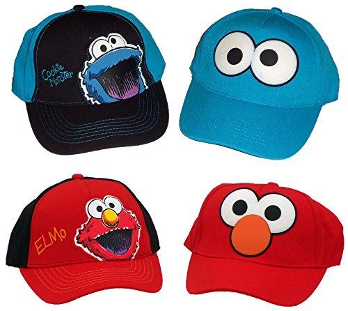Elmo Cap - Sesame Street Elmo & Cookie Monster Boys Baseball Cap UPF 50+ Sun Hat (Set of 4)