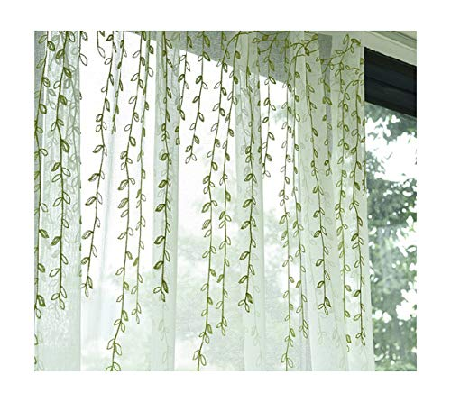 Bedroom Cottage Style - Aside Bside Voile Draperies Home Decorations Cottage Style Rod Pockets Willow Twig Embroidered Sheer Curtains Kids Room Bedroom Dining Room (1 Panel, W 50 x L 95 inch, Green)