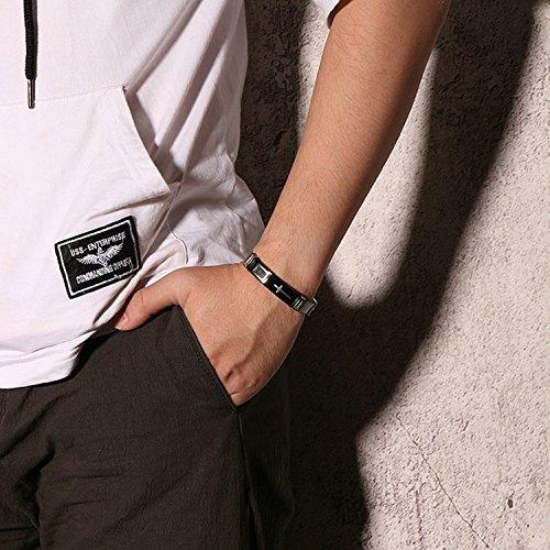 LexBu Men Bracelets Stainless Steel Cross Black 17CM by LexBu (Image #4)
