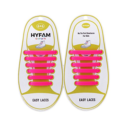 HYFAM Elastic Shoe Laces for Kids No Tie Shoelaces Waterproof Elastic Stretchy Silicone Tieless Shoe Laces for Sneakers Board Shoes Casual Shoes