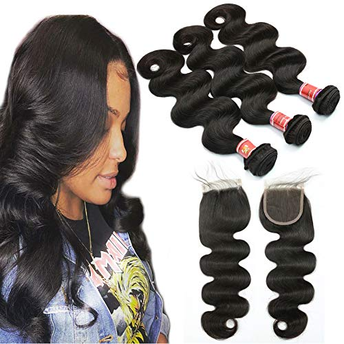 Great Grace Hair Bundles with Closure Body Wave 8A Brazilian Human Hair with Lace Closure 100% Unprocessed Brazilian Wavy Virgin Bundles with Free Part Closure Weave Bundles ()