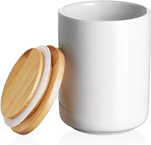 DOWAN White Kitchen Canister, Airtight Food Storage Ceramic Jar with Wooden Lid, 14 FL OZ (400 ML) Portable Canister for Ground Coffee, Tea, Sugar, Spices, 3.15 x 3.93 inches
