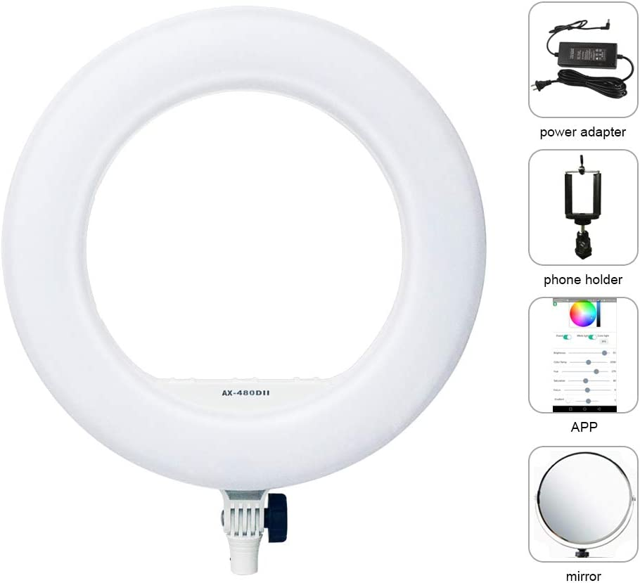 Yidoblo AX-480EII 5500K Warm /& Cold Bio-Color Camera Photo//Studio//Phone//Video 18 240 LED Ring Light LED Lamp Makeup Ring lamp AX-480SII Set