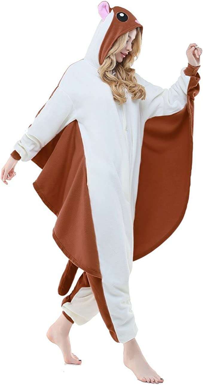 Amazon Com Newcosplay Adult Unisex Flying Squirrel Onesie Pajama Costume Clothing