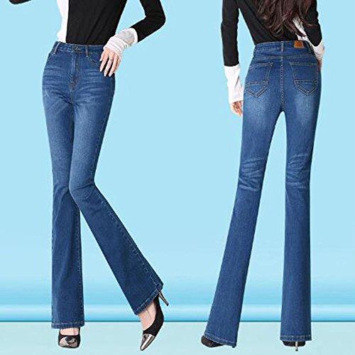 Stretchy Femmes Ladies Flare Ademi trousers blue3 À Taille Haute Pants Zip Pour 36 Jeans Up AFXqY4q0n1