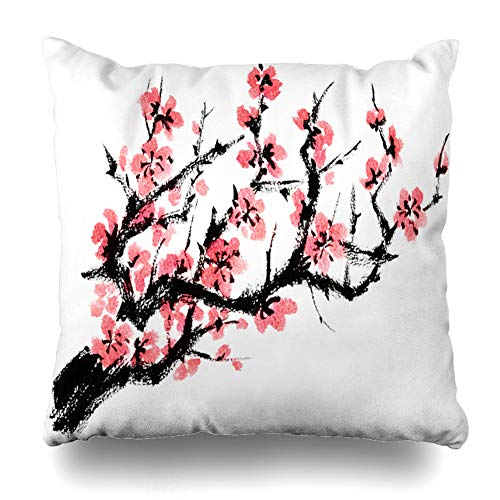 Ahawoso Decorative Throw Pillow Cover One Pink Asia Apricot Tree Nature Analog Style Blossom Brush Pen Touch Color Design Painting Home Decor Pillowcase Square Size 20