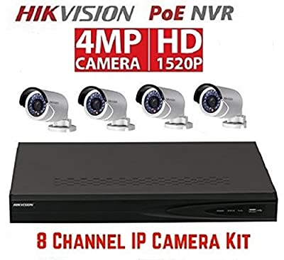 Hikvision DS-7608NI-E2/8P 8CH 8 POE NVR & 4pcs DS-2CD2042WD-I 4MP POE Bullet Camera Kit from Hikvision