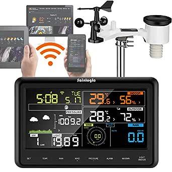 Sainlogic Profi WLAN WiFi internetradio väderstation med yttesensor, regnkniv, väderprognos, vindkniv, färgdisplay, svart