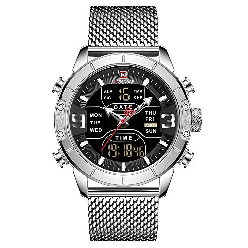 NAVIFORCE Digital Watch Men Waterproof Sports Watches Stainless Steel Military Quartz Clock Wristwatch ()
