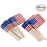 American Flag Picks Flag Toothpicks Cocktail Sticks Cupcake Toppers, 100 Count