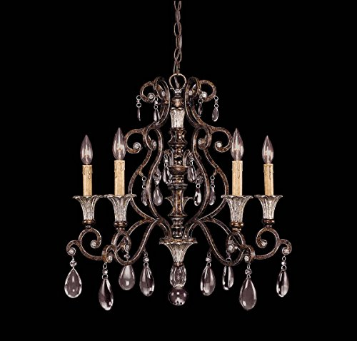 Savoy House Lighting 1-3001-5-8 St. Laurence Collection 5-Light Single-Tier Chandelier, New Tortoise Shell with Sliver Finish with Clear (Locations Tortoise Shell Finish)